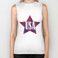 usa Biker Tanks featuring USA by Caio Trindade