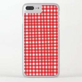 Red Gingham Clear iPhone Case