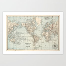 Vintage Map of The World (1893) Art Print