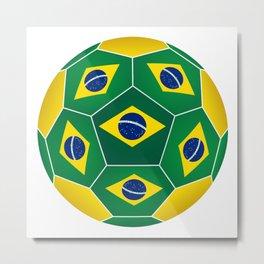 Football ball with Brazilian flag Metal Print