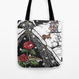 Peonies in snow Tote Bag