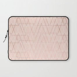 Modern white rose gold abstract geometric triangles on blush pink Laptop Sleeve