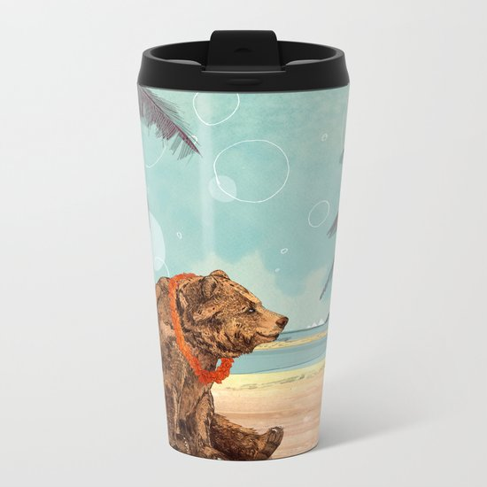 Beach Bear Metal Travel Mug