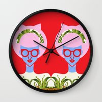 fern Wall Clocks featuring Fern  by The Pairabirds