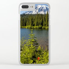 Wildflower Color by Reflection Lake and Mt Rainier, No. 2 Clear iPhone Case
