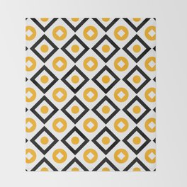 Sun yellow pattern of rhombuses and circles Throw Blanket