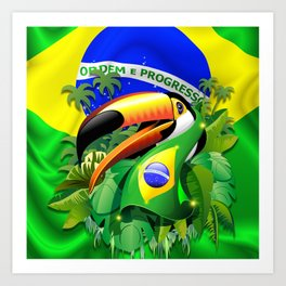 Toco Toucan with Brazil Flag Art Print