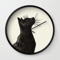 black cat Wall Clocks featuring Black Cat by Cedric S Touati