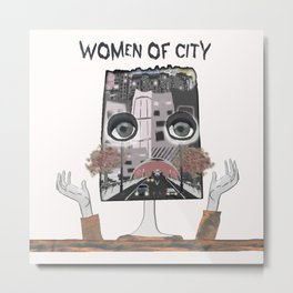 Women of city White Metal Print