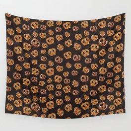 Pretzels on burnt brown Sienna _digital oil painting Wall Tapestry