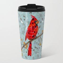 Red Cardinal Collage Travel Mug