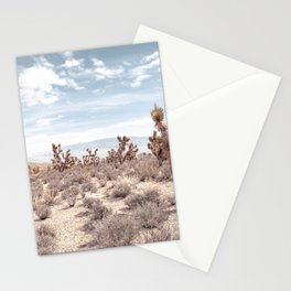 Vintage Deset Landscape // Joshua Tree Cactus Dusty Blue Sky and Mountains Stationery Cards