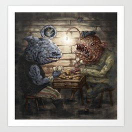 Sea Lubbers: Fish Pirates Gambling on Cards - colour Art Print