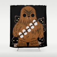 chewbacca Shower Curtains featuring chewbacca wookiee by trevacristina