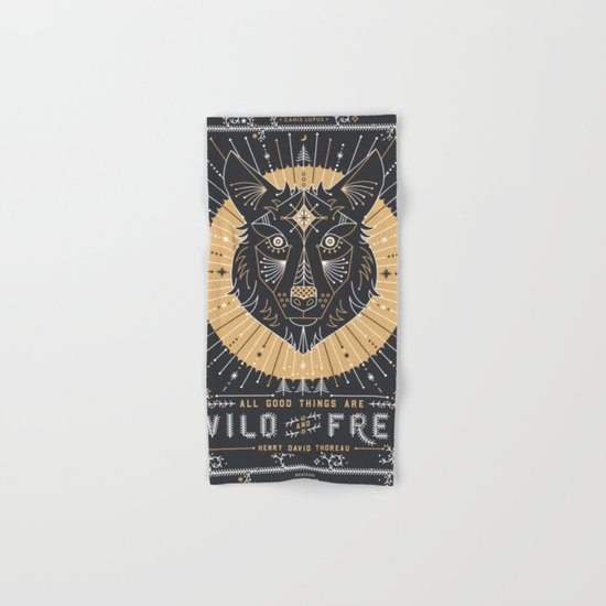 Wild & Free Wolf – Gold & Grey Hand & Bath Towel