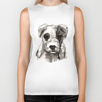puppy Biker Tanks featuring Puppy  by Cedric S Touati