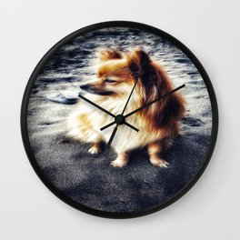 Beach Pomeranian Wall Clock