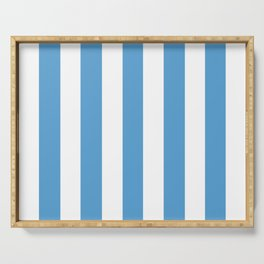 Carolina blue - solid color - white vertical lines pattern Serving Tray