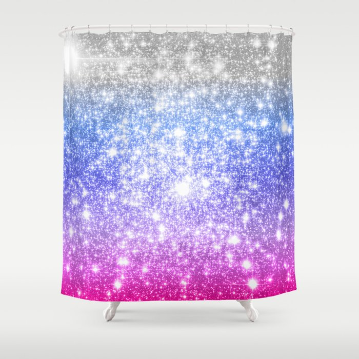 Galaxy Sparkle Stars Periwinkle Pink Shower Curtain By Vintageappeal623