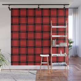 Large Firebrick Red Weave Wall Mural