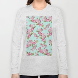 Pink & Mint Green Floral Long Sleeve T-shirt