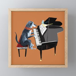 Piano lesson with Angel Framed Mini Art Print