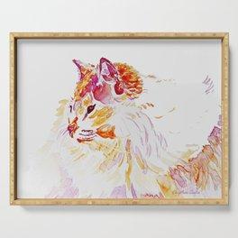Siamese Kitty Cat watercolour by CheyAnne Sexton Serving Tray