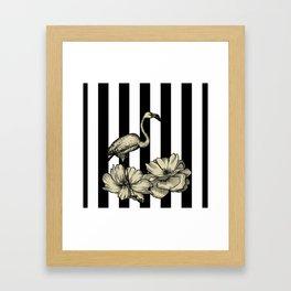 Stripe Flamingo Framed Art Print