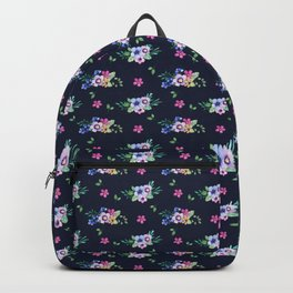 Tiny Flowers Ditsy Floral Navy Blue Backpack