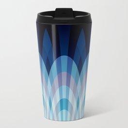 Sea blue and soft pink waves Metal Travel Mug