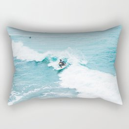 Wave Surfer Turquoise Rectangular Pillow