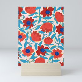 Sunlit Flowers in Red Mini Art Print