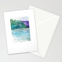Water Land Oil Pastel Drawing Stationery Cards