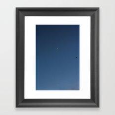 moon and seagull Framed Art Print