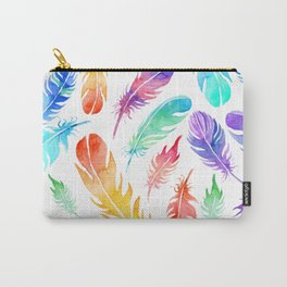 NEON RAINBOW TROPICAL FEATHERS Carry-All Pouch