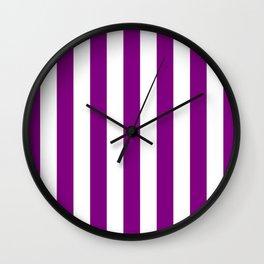 Vertical Stripes (Purple/White) Wall Clock