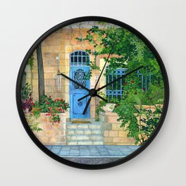 Blue door Jerusalem Acrylic on board Wall Clock