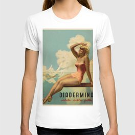 Vintage 1937 Suntan Lotion Diadermina by Gino Boccasile Lithograph Advertisement Poster T-shirt
