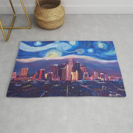 Starry Night in Los Angeles - Van Gogh Inspirations with Skyline and Mountains Rug