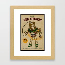 Buzz Lite-Beer Ad Framed Art Print