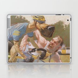 Man Chases Dog, Dog Pedals Harder Laptop & iPad Skin