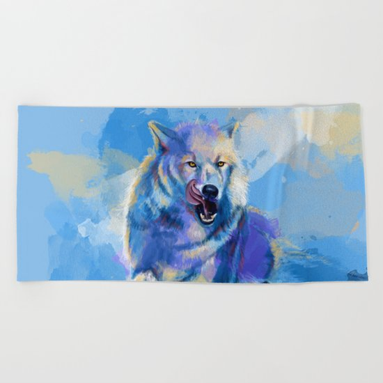 Awaken the Wolf Beach Towel