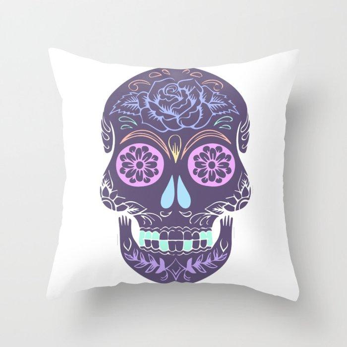 19260c8e1d2 Day of the Dead Pastel Skull (Dia de los Muertos) Throw Pillow by ...