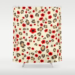 Romantic Leopard Print Pattern with Red Flowers Shower Curtain