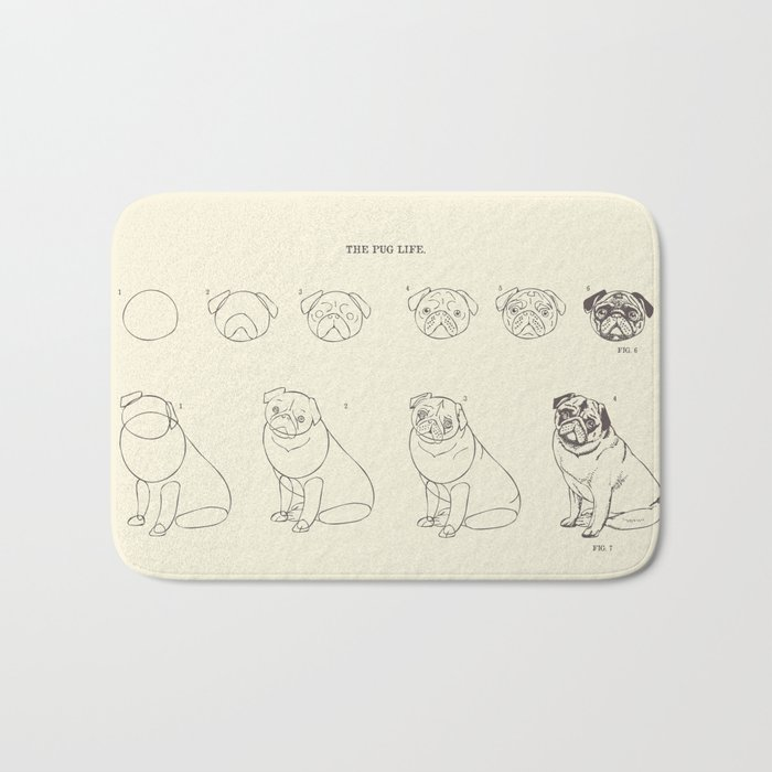 How to Draw The Pug Life Bath Mat