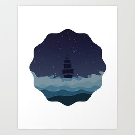 Waves at Night Art Print