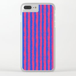 pink no blue bounding stripes 2 Clear iPhone Case