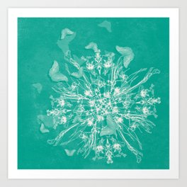 ghost bouquet and butterflies  on teal Art Print