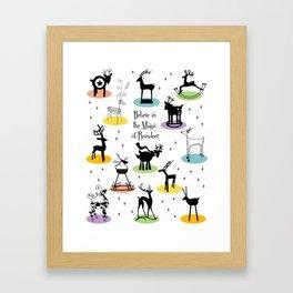 Believe in the Magic of Reindeer Framed Art Print