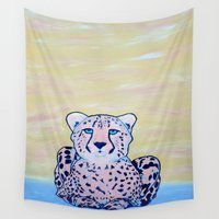cheetah Wall Tapestries featuring Cheetah by Maribeth